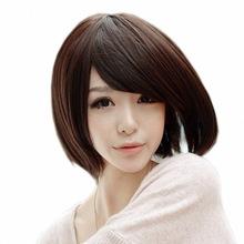 Hot Sexy Cute Girl Ladies Pro Salon Short Straight Inclined Bangs BOBO Head Slim Face Wig Hair Cosplay Hair Brown(China (Mainland))