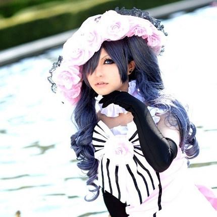 Hot sale 75cm Mixed Blue Grey Ponytails Hair Black Butler Ciel Phantomhive Cosplay wig(China (Mainland))