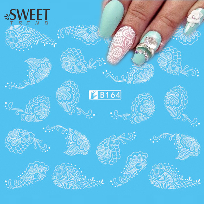 1Sheet Lace Flower Nail Art Water Transfer Stickers Beauty White/Black Nail Tips Decals Sweet Trend Manicure Decoration B164(China (Mainland))