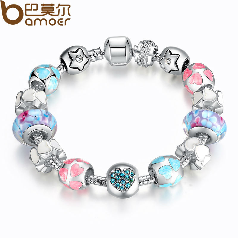 """Aliexpress 925 Silver Heart Start Crystals """"LOVE"""" Colorful Girl Murano Beads Bracelet for New Year Gift PA1871(China (Mainland))"""