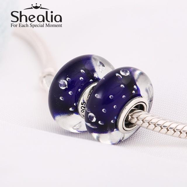 Shealia ювелирные изделия стерлингового серебра 925 королевская рождество звезды синий муранского стекла подвески бусины для женщин автор браслеты diy Ht301