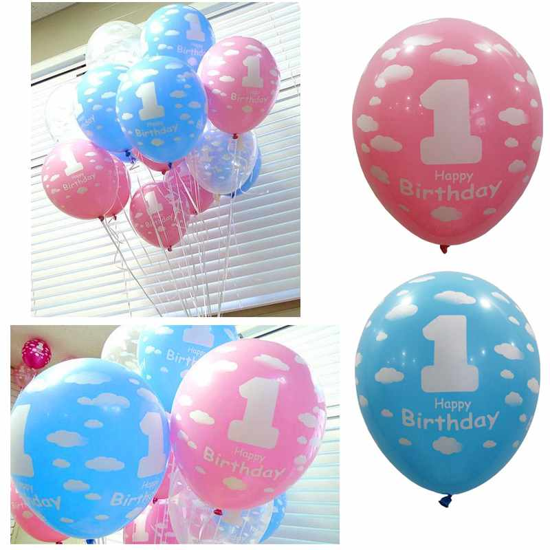 20pcs Baby 1st First Birthday Ballons Girl Boy Printed 1 Birthday Party Ballon(China (Mainland))