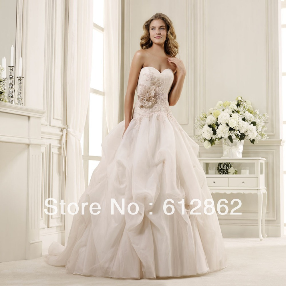 Elegant strapless sweetheart neckline ruffled organza for Champagne color wedding dresses