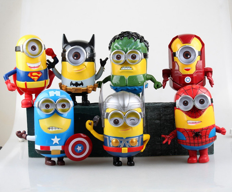 2016 New Audible &amp; Light 7pcs/lot Minions Cosplay The Avengers New Model 15cm Action Figure Toys free shipping  KC023<br><br>Aliexpress