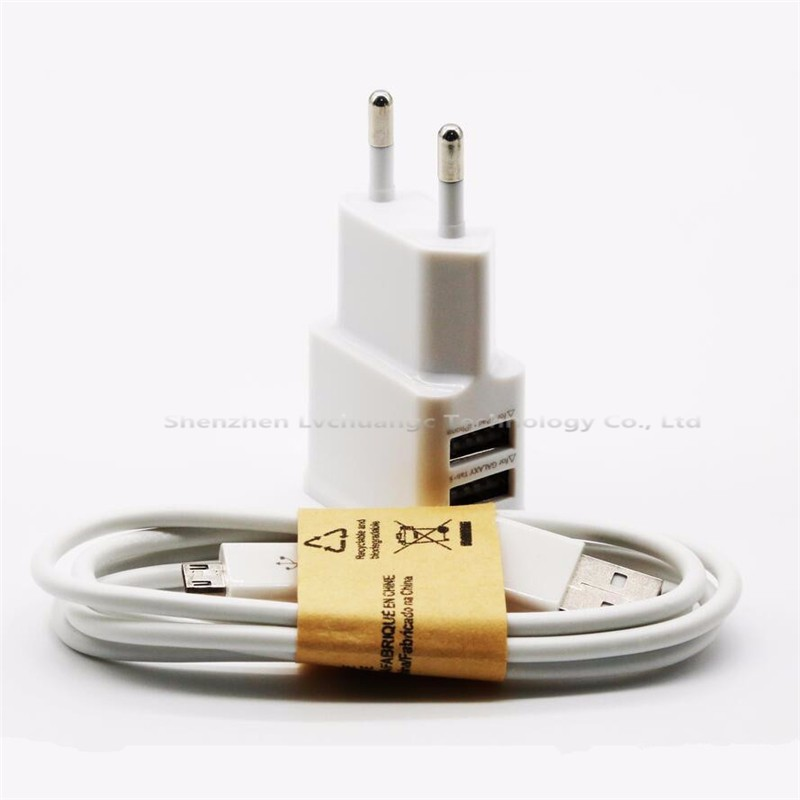 Top quality 2A white Dual 5V USB EU Plug Wall Charger + micro USB cable for Samsung galaxy S3 S4 S5 note 3 4 5 7 mobile phone