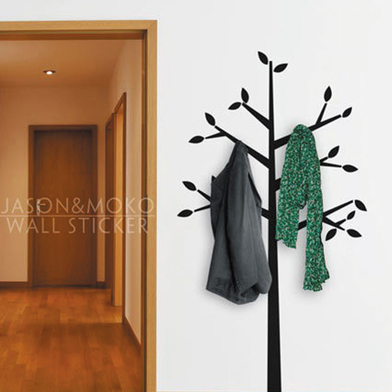 Wall Coat Hanger Tree Branches Decal Locker Decorations Vinyl Wall Stickers Home Decor Wallpaper Bedroom Dressing Room 90x170cm(China (Mainland))