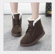 Kadın yarım çizmeler Kış Kaymaz Süet peluş düz Kar Botları Kadın Nedensel Sıcak Ayakkabı Moda kış Ayakkabı boyutu 35 -40(China)