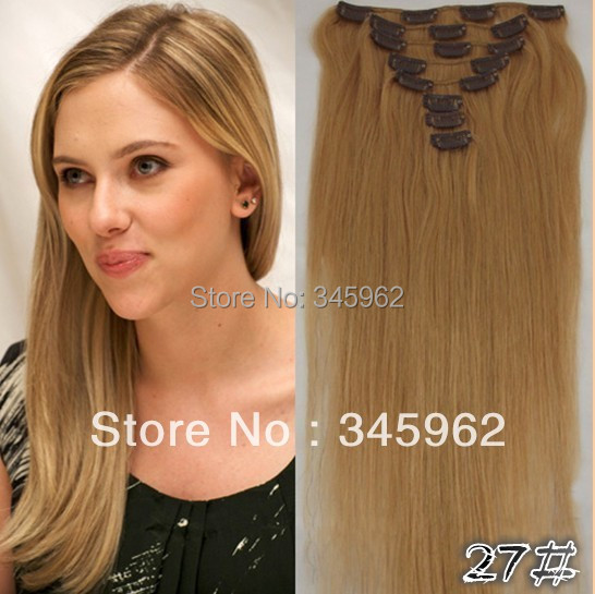 Brazilian straight clip hair extension 100% remy Honey #27 Strawberry Blonde 18-30'' - sexy products wigs store