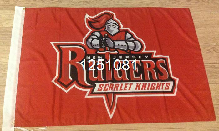 Rutgers Scarlet Knights Flag 3ft x 5ft Polyester NCAA Banner Rutgers Scarlet Knights Flying Size No.4 144* 96cm Custom flag(China (Mainland))