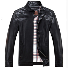 2015 Spring Slim Leather Jacket Men Stand Collar Sheepskin Jacket Short Design Male Leather Jacket Brand Genuine Leather Jacket(China (Mainland))