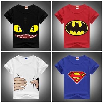 2015 New Fashion Children Tshirts Lycra Combed Cute Toothless&Batman&Superman Printed Tees Boys&Girls Summer Short Sleeve Shirt