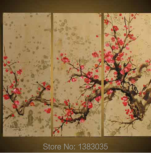 Hand painted abstract flower cherry blossom wall paintings for Cherry blossom canvas painting