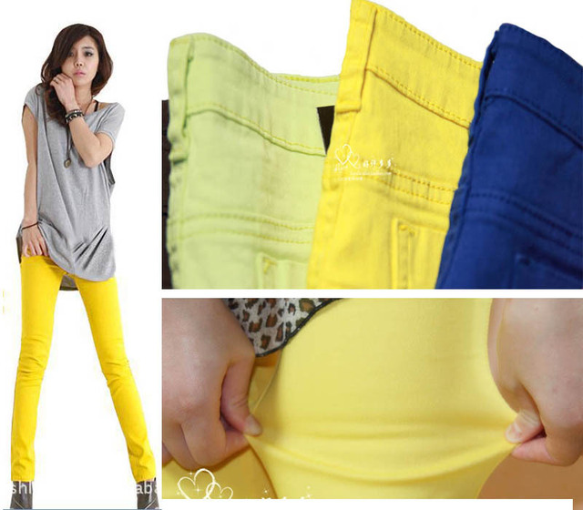 Women's Stretch Candy Pencil Pants Casual Skinny Slim Jeans Trousers No Fade,Retail & Wholesale, Free Shipping