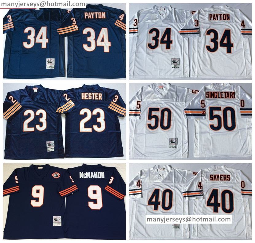 Discount 34 Walter Payton Throwback 2016 Navy Blue White Retro 9 Jim McMahon 23 Devin Hester 40 Gale Sayers 50 Mike Singletary(China (Mainland))