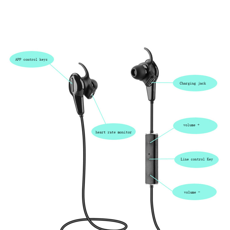 FINEBLUE Stereo Bluetooth Earphone Neckband In-ear Wireless Heart Rate Monitor Headset With Mic Sport Earbuds Handfree #OY520(China (Mainland))