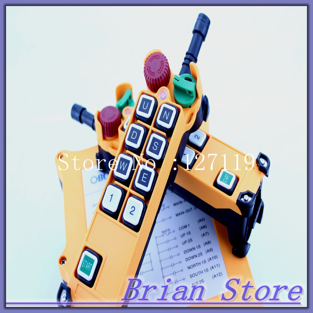 2 Speed 2 Transmitters Hoist Crane Truck Radio Remote Control System Controller With E-Stop(China (Mainland))