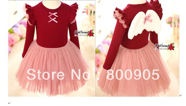 girls clothing spring angel with wings dress clothes children girl  kids clothing 2 colors  tutu dresses XZQ<br><br>Aliexpress