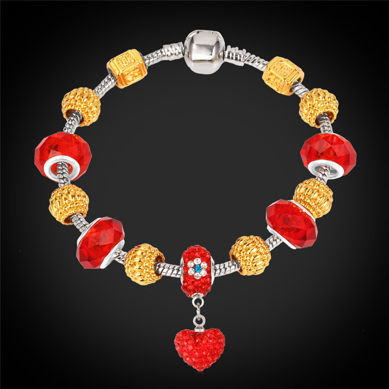 Bracelets Women DIY Jewelry European Style Silver Color Red Rhinestone Crystal Heart Trendy New Gold Plated Charms Bracelet H125(China (Mainland))