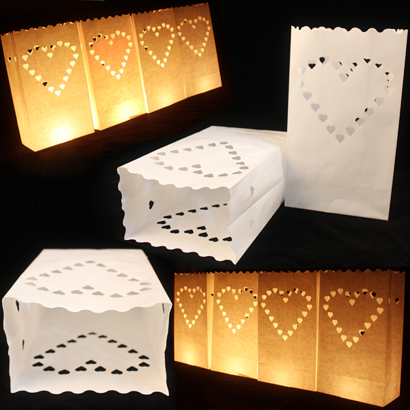 Cheap New! 20pcs Paper Candle Bags Heart Shape Hollow Design light Holder Luminaria Paper Lantern for Wedding Party Decoration(China (Mainland))