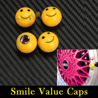 4pcs/Set Auto Motorcycle Ball Smile Cover Air Tire Face Value Caps For Yellow Stem Truck Round Covers Tyre Wheel ABS Car