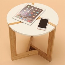 40*41CM White Bamboo Simple Small Side Table Sector pattern Tea Coffee table for Living room unique new(China (Mainland))