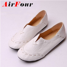 Airfour Free Shipping Most Popular Portable Women Loafers Casual Shoes Charming Flats Shoes For Sale Soft Leather Big Size 34-43