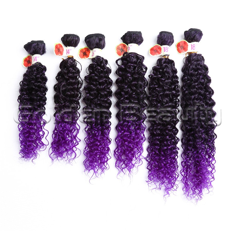6pcs/set Mediem Length ombre purple color deep Jerry curly synthetic hair extensions for sew in weaving hair weft