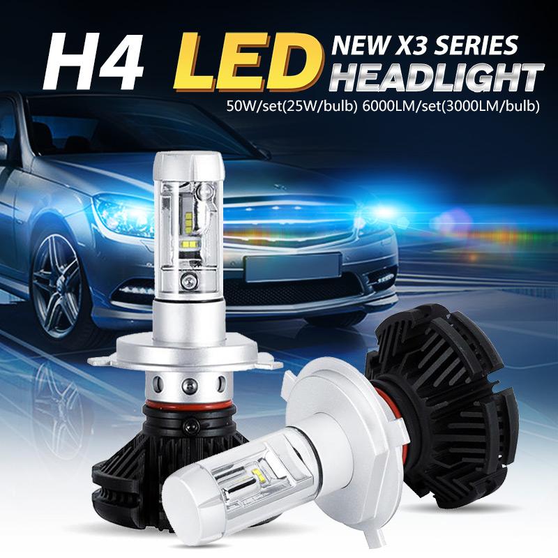 Oslamp CREE Chip H4 LED SUV Headlight Kits Far & Near Driving Car Bulbs Dipped/High Beam SUV Fog Lamp Fanless 3000K 6500K 8000K(China (Mainland))