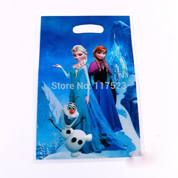Disney Frozen Movie Elsa Anna Kid Boy Girl Baby Happy Birthday Party Decoration Kits Supplies Favors Loot Bag Gift Bag 12pcs/lot(China (Mainland))