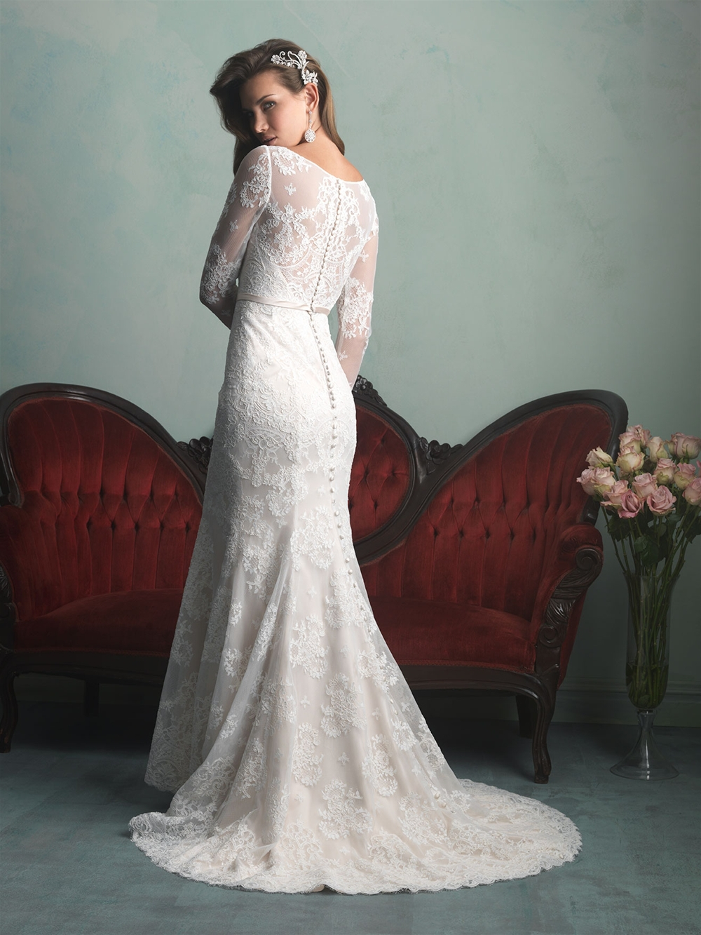 New style 2014 elegant scoop mermaid sashes long sleeve for Long sleeve white lace wedding dress