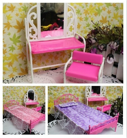 Wholesale Dolls 5-Piece Furniture Set Chair + Dressing Table + Bed +Sheet+Pillow Set For 11'' 30cm Dolls Girls Birthday Gifts(China (Mainland))