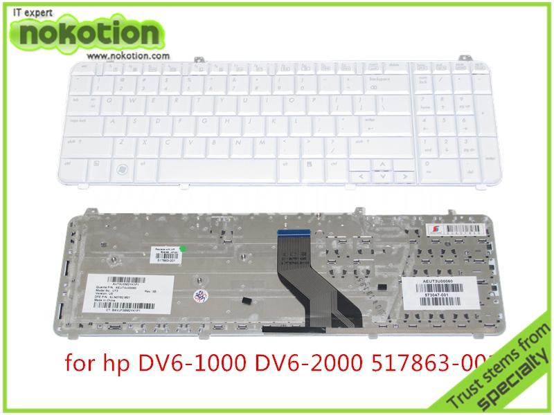 laptop keyboard for HP PAVILION DV6 DV6-1000 DV6-2000 517863-001 WHITE US(China (Mainland))
