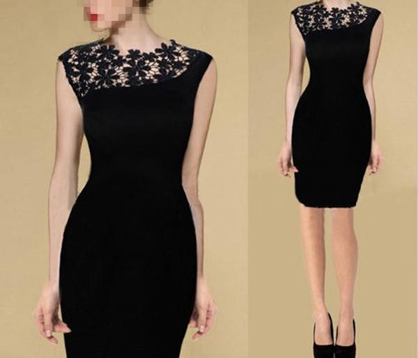 Платье облегающее кружево, женщины черный простирание накидка Клубная одежда коктейльный вечернее карандаш платье S-XL горячая