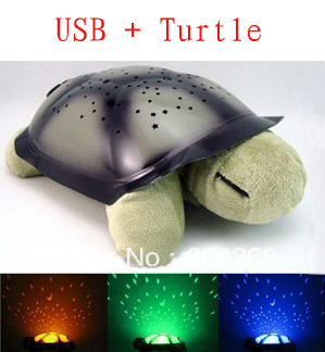 4 Colors Free shipping USB + Musical Turtle Night Light Stars Constellation Lamp Turtle Toys Without Box,1pc/lot(China (Mainland))