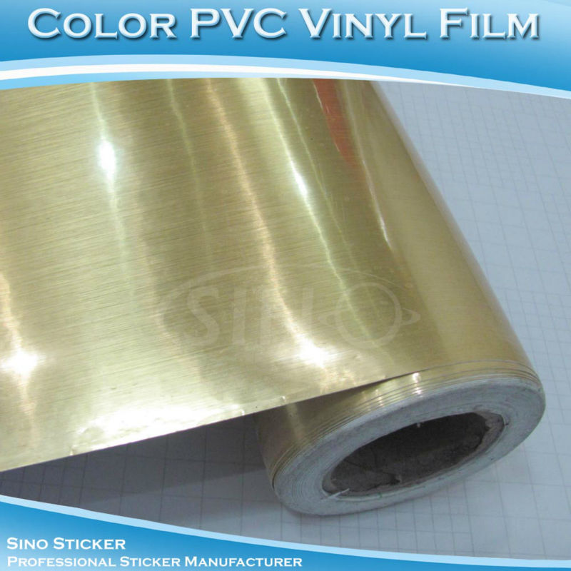 1.2x40M High Quality Brushed Gold Self Adhesive Advertising Cutting Plotter Vinyl Sticker(China (Mainland))