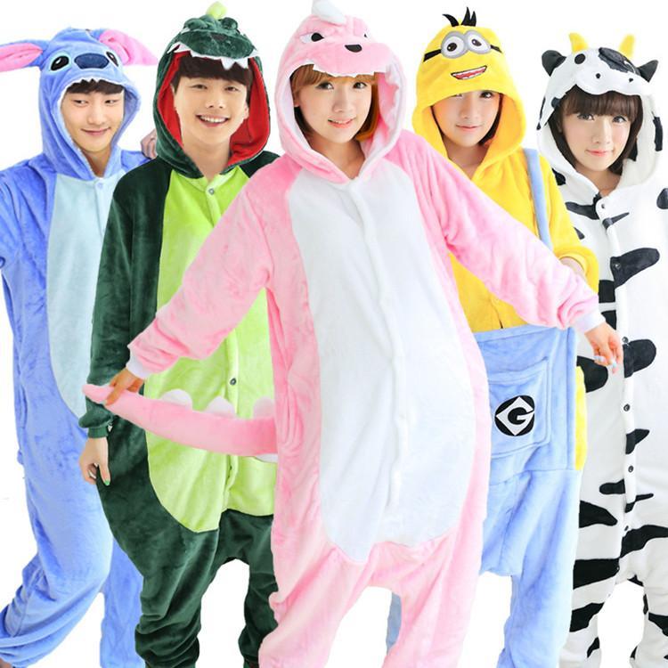 2016 New 22 Styles Flannel Anime Pijama Cartoon Cosplay Warm Hood Onesies Sleepwear Adult Unisex Homewear