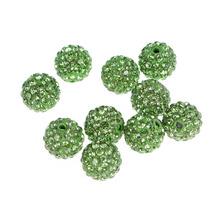 10Pcs Green Round Beads Women DIY Rhinestone Bracelets Hand Chain Beads Accessories Diameter 14mm (China (Mainland))