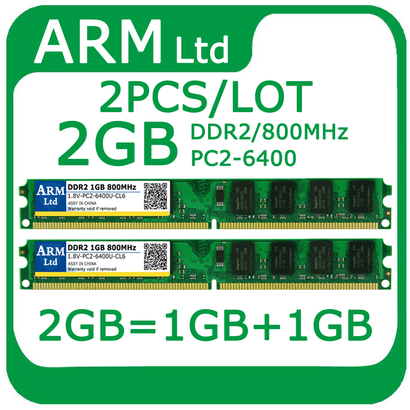 Wholesale DDR2 800 667MHz 2GB=1GB+1GB PC2-6400 RAM Dual channel Memory Memoria for Desktop Support all motherboards 2pcs/lot