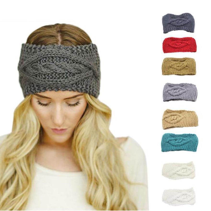 Womens headband Knitting Wool Winter Warm Hat Skiing Cap Knitted Empty Knitting Wool Skull Beanie Headband hair clip 40*12cm(China (Mainland))