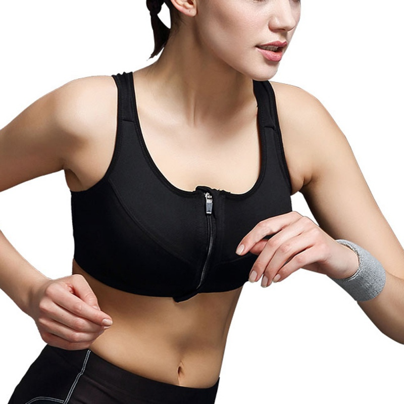 Women High Impact Level Sports Bra Zip Crop Top Padded Plunge Support Bras LL5(China (Mainland))