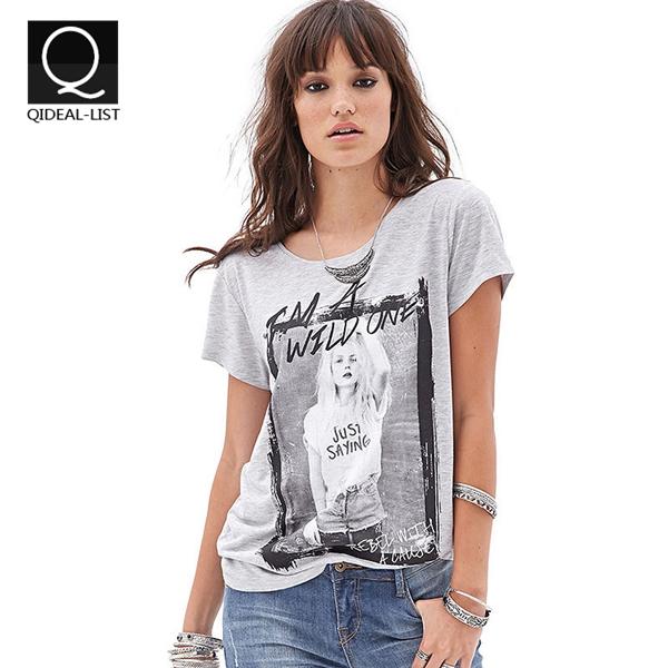 Qideal-L 2016 Wild Girl's Picture Tropical Print T Shirt Women Clothing Punk Women's T-Shirts Plus Size Casual O Neck Women Tops(China (Mainland))