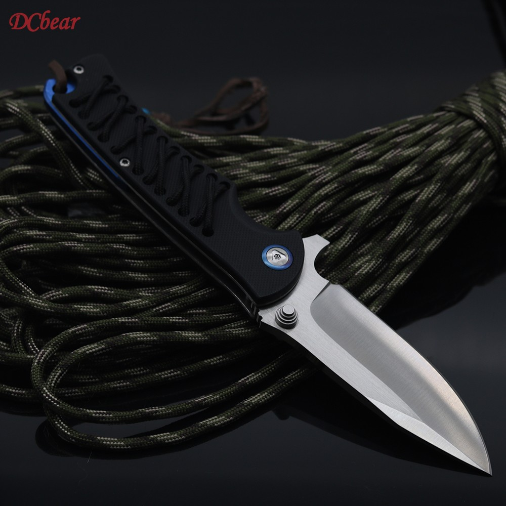 Buy Dcbear Tactical Folding Pocket Knife 9CR18MOV Blade G10 Handle Survival Hunting Combat EDC Knives Utility Outdoor Camping Tools cheap