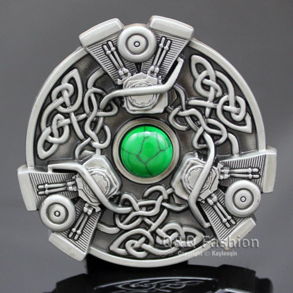 Men Trinity Knot Chopper V-Twin EVO Engine Motor Turquoise Belt Buckle Jewelry Free Shipping(China (Mainland))