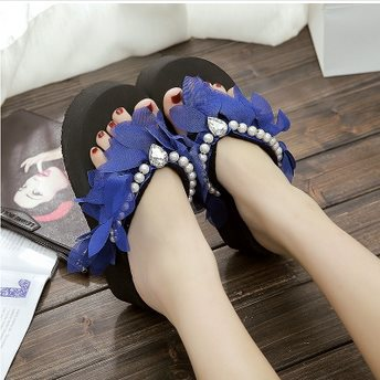 L6-071 7CM Summer Women's Slippers Handmade CHIFFON FLOWER High Heeled Flowers Flip Flops Beach Slippers (Shoe Small Code)(China (Mainland))