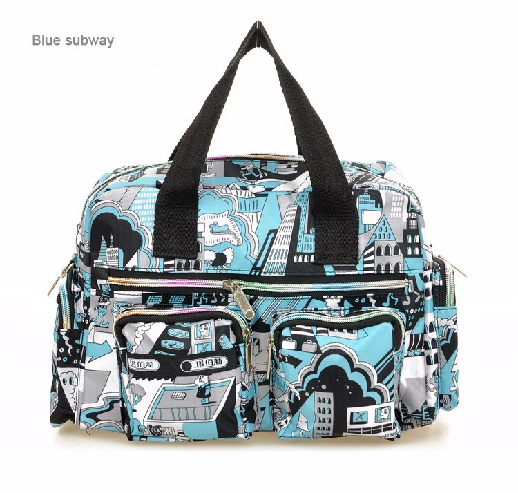 Stylish Printing Casual Handbag Waterproof Floral Nylon Women Hand-held Crossbody Bag Ladies Trendy Lovely Durable Shoulder Bag