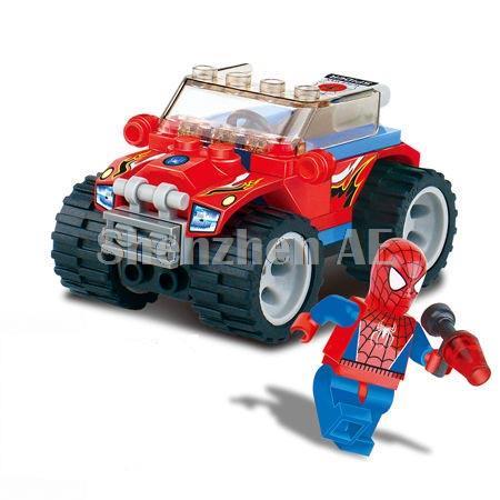 Kazi Spider Man Red Police Car Building Blocks Sets Model Educational DIY Bricks Toys For Children(China (Mainland))
