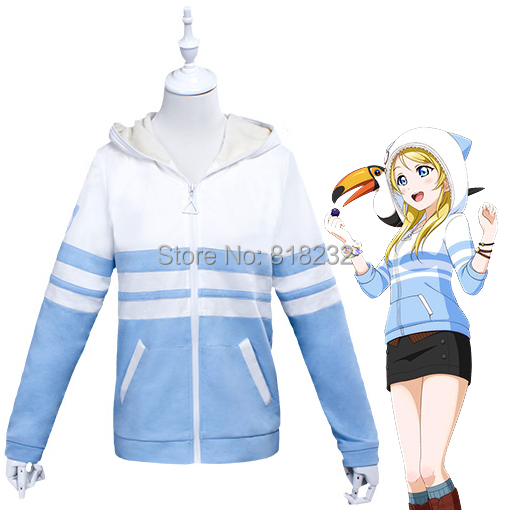 LoveLive! Love Live Ayase Eli Animal Hoody Hoodie Sweater Coat Outwear Outfit Cosplay CostumesОдежда и ак�е��уары<br><br><br>Aliexpress