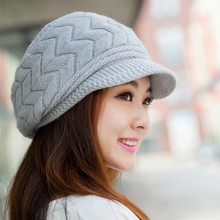 2015 Elegant Women Winter Hat Fall Beanies Knitted Hats For Woman Rabbit Fur Cap Ladies Fashionable Thick Skullies with Fleece