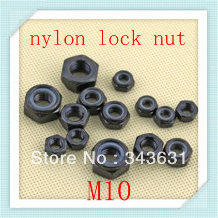 High Quality  DIN985 M10  Carbon Steel With Black Znic Plated  Nylon Lock Nuts ( 50pcs/lot)<br><br>Aliexpress