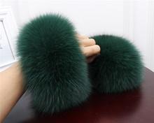 High Quality Fox fur Cuffs Hot Sale Wrist Warmer Genuine Fox Fur Cuff Arm Warmer Lady Bracelet Real Fur Wristband Glove X#1(China)